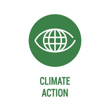 Climate action color icon. Corporate social responsibility. Sustainable Development Goals. SDG sign. Pictogram for ad, web, mobile app. UI UX design element. Editable stroke