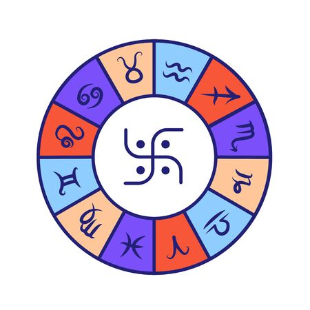 Astrology wheel color line icon. Wheel of all zodiac signs. Astrology and horoscope. Predictions and human character. All elements. UI UX GUI design element. Editable stroke
