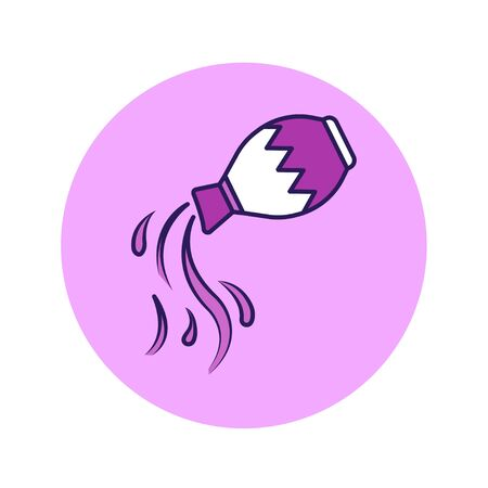Aquarius color line icon. Zodiac sign. Astrology and horoscope. Predictions and human character. Element air. Ruler Uranus. UI UX GUI design element. Editable stroke Illustration