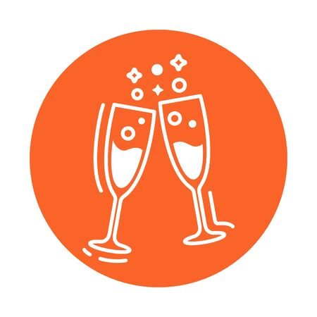 Glasses of champagne line color icon. Celebration of the festive event. Sign for web page, mobile app, banner, social media. Vector clipart, illustration template. Editable stroke
