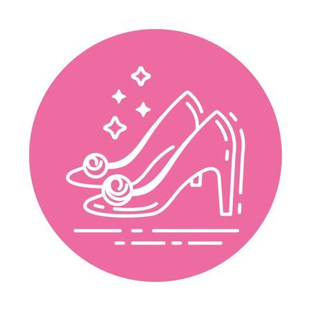 Icône de ligne de chaussures pour femmes. Concept d'accessoires de mariage. Signez pour la page Web, l'application mobile, la bannière, les médias sociaux. Pictogramme UI UX et interface utilisateur GUI. Clipart vectoriel, illustration, modèle