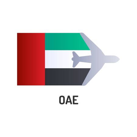 Flag of United Arab Emirates UAE color line icon. Airline network. International flights. Popular tourist destination. Pictogram for web page, mobile app, promo. Editable stroke