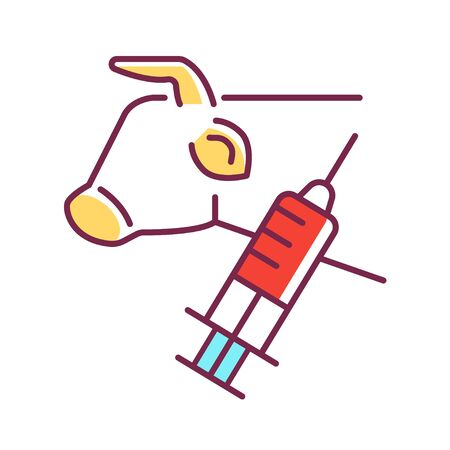 Stem cell biopsy color line icon. Involving extraction of sample cells or tissues of cow. Pictogram for web page, mobile app, promo. UI UX GUI design element. Editable stroke