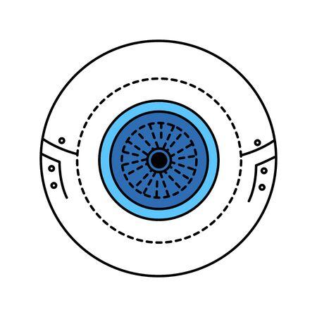 Bio artificial eye color line icon. Type of craniofacial prosthesis. Replaces an absent natural eye. Pictogram for web page, mobile app, promo. UI UX GUI design element. Editable stroke Ilustração