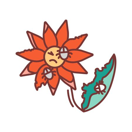 Pests and diseases in flower color line icon. Bacterias that destroy and kill the plant. Pictogram for web page, mobile app, promo. UI UX GUI design element. Editable stroke.
