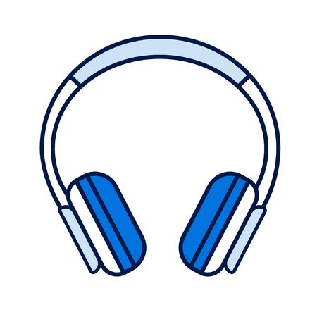 Headphones color line icon. Hardware device. Can be plugged into a computer, laptop, smartphone or other device to privately listen to audio. Pictogram for web page, mobile app, promo. Editable stroke.