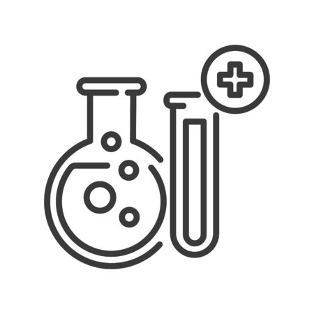 Pharmaceutical industry line black icon. Manufacturing medicines, vaccines. Sign for web page, mobile app, button, logo. Vector isolated sign. Editable stroke
