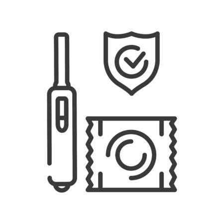 Pregnancy test and condom black line icon. Pharmaceutical product. Birth control. Safety sex sign. Pictogram for web page, mobile app. UI UX GUI design element