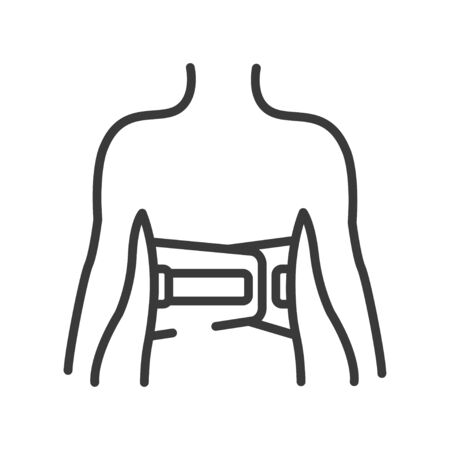 Bandage belt for a back line black icon. Medical support for the lumbar after injuries and sprains. Bandage to relieve pain. Posture Corrector. Sign for web page, mobile app. Vector isolated button Vettoriali