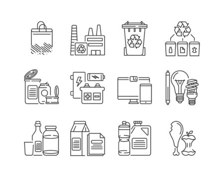 Recycling black line icons set. Garbage sorting. Zero waste lifestyle. Eco friendly. Sign for web page, app. UI UX GUI design element. Editable stroke Vektorové ilustrace