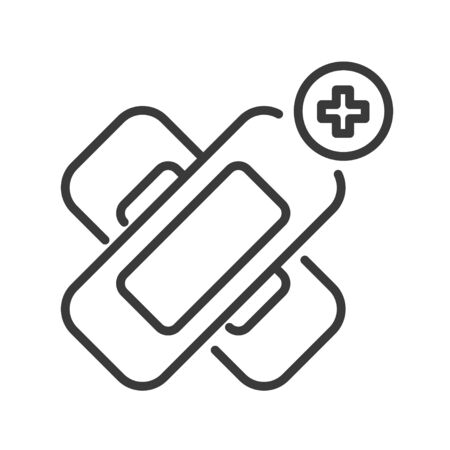 Elastic medical plaster line black icon. Adhesive bandage concept. Sign for web page, mobile app, button, logo. Vector isolated sign Ilustração