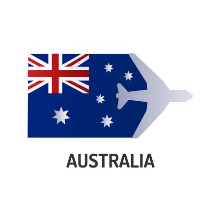 Flag of Australia color line icon. Airline network. International flights. Popular tourist destination. Pictogram for web page, mobile app, promo. UI UX GUI design element. Editable stroke
