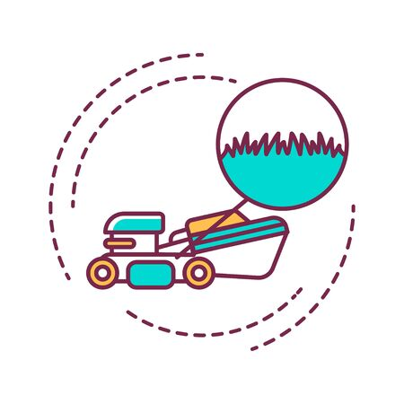 Lawn Mowing and Trimming color line icon. Cutting the grass in the right area. Handyman services. Pictogram for web page, mobile app, promo. UI UX GUI design element. Editable stroke