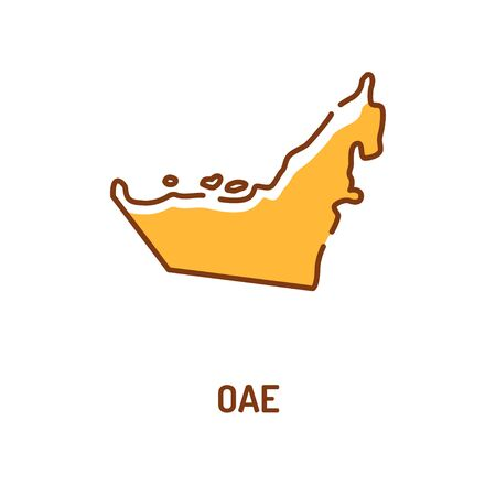 United Arab Emirates map color line icon. Border of the country. Pictogram for web page, mobile app, promo. UI UX GUI design element. Editable stroke