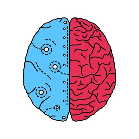 Artificial brain color line icon. Software and hardware with cognitive abilities similar to those of human brain.Pictogram for web page, mobile app, promo. UI UX GUI design element. Editable stroke