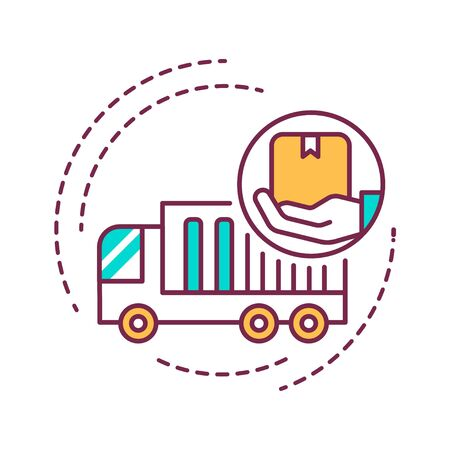 Moving Help color line icon. Help from the initial packing and wrapping to heavy lifting and unpacking to final destination. Handyman services. Pictogram for web page, mobile app, promo. UI UX GUI design element. Editable stroke.