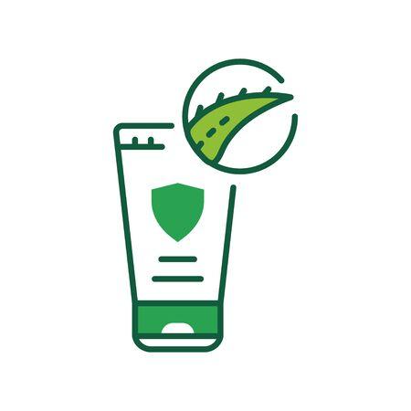 Aloe cream color line icon. Cream with aloe in tube. Moisturizes and nourishes the skin. Skincare. Pictogram for web page, mobile app, promo. UI UX GUI design element. Editable stroke