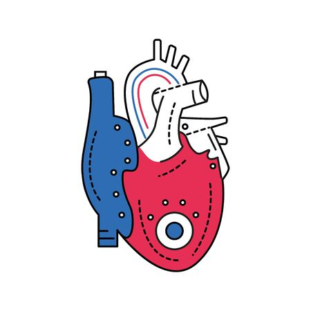 Bio artificial heart color line icon. Engineered heart. Contains the extracellular structure. Replaces an absent natural herart. Pictogram for web page, mobile app, promo. Editable stroke
