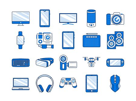 Gadgets color line icons set. Electronic devices. Designed to facilitate and improve human life. Pictogram for web page, mobile app, promo. UI UX GUI design element. Editable stroke