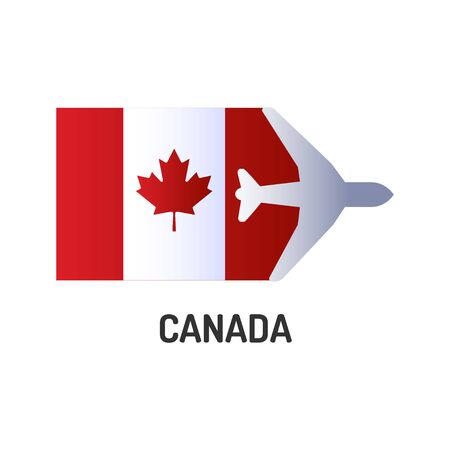 Flag of Canada color line icon. Airline network. International flights. Popular tourist destination. Pictogram for web page, mobile app, promo. UI UX GUI design element. Editable stroke