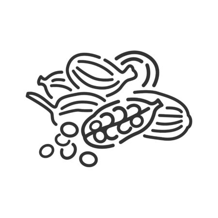 Cardamon seeds black line icon. Spices product. Cooking ingredient Ilustracja
