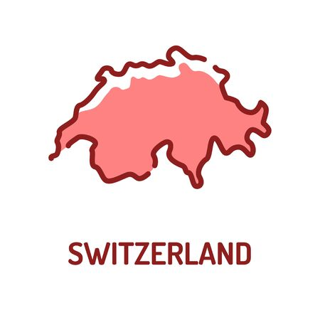 Switzerland map color line icon. Situated in the confluence of western, central, and southern Europe. Border of the country. Pictogram for web page, mobile app. Editable stroke