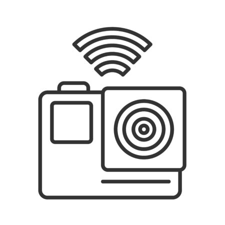 Action camera black line icon. Electronic device concept. Pictogram for web page, mobile app, promo. UI UX screen. User interface display. Editable stroke