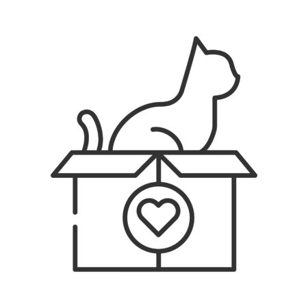 Help pet line black icon. Animal protection sign. Giving care vector pictogram. Charity and Volunteering symbol. Button for web page, mobile app, promo, UI UX user interface. Editable stroke