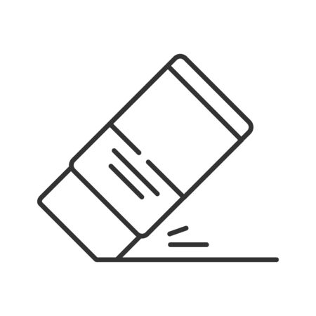 Eraser black line icon. Mistake removal tool concept. School, office supplies. Sign for web page, mobile app, banner, social media. Editable stroke