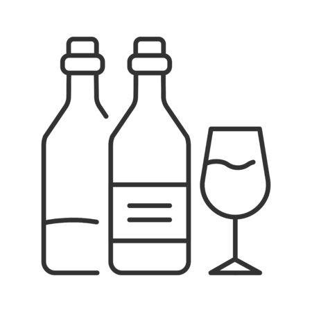 Alcohol addiction black line icon. Bad habit. Health danger. Social problem concept. Sign for web page, mobile app, banner, social media.