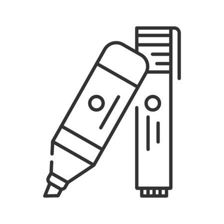 Felt-tip pens black line icon. Highlighters concept. School, office supplies. Sign for web page, mobile app, banner, social media. Editable stroke Ilustração
