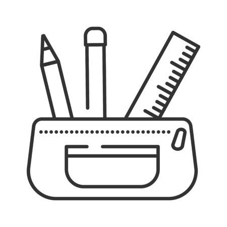 Open pencil case black line icon. Stationery concept. School supplies. Sign for web page, mobile app, banner, social media. Editable stroke Ilustração