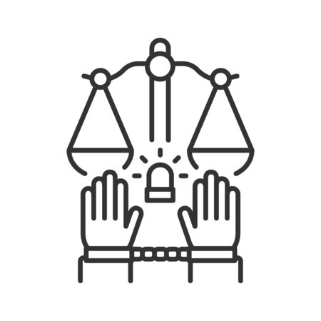 Crime line black icon. Convicted man in handcuffs concept. Social problem. Sign for web page, mobile app, button, logo. Vector isolated button. Editable stroke