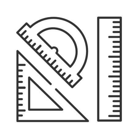 Rulers black line icon. Measuring tools: ruler, triangle, protractor. Correct form and sizes. School, office supplies. Sign for web page, mobile app, banner, social media Editable stroke 向量圖像