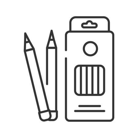 Box colored pencils black line icon. Tools for drawing concept. School supplies. Sign for web page, mobile app, banner, social media. Editable stroke Vectores