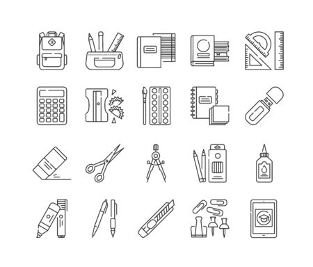 Stationery black line icons set. School, office supplies. Calculator, backpack, eraser, pens, e-learning, brush, flash drive, scissors, ruler, notebook. Sign for web page, mobile app, banner
