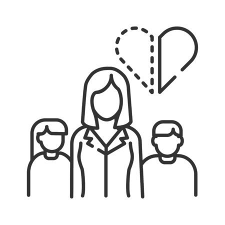 Single mother black line icon. Inferior family. Social problem concept. Mom with childrens. Sign for web page, mobile app, banner, social media. Editable stroke Archivio Fotografico - 138189471