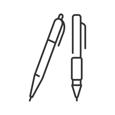 Detailed blue classic ballpoint pens black line icon. Stationery concept. School supplies. Sign for web page, mobile app, banner, social media. Editable stroke