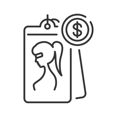 Prostitution black line icon. Sexual services for money. Sex trade, slavery concept. Sign for web page, mobile app, banner, social media. Editable stroke