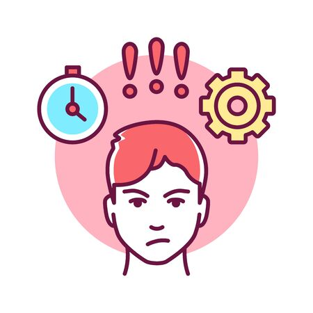 Anger management color line icon. Process of learning to recognize signs that person is becoming angry. Pictogram for web page, mobile app, promo. Vectores