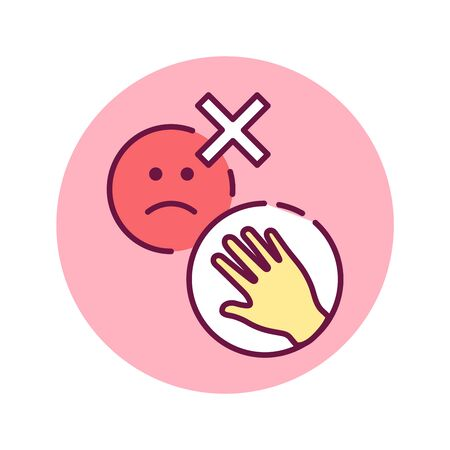 Do not hold the evil color line icon. Try not to hold negative inside. Do not not hold grudges. Pictogram for web page, mobile app, promo. UI UX GUI design element. Editable stroke.