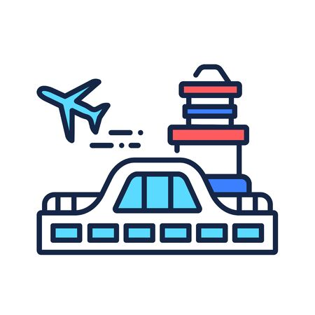 Airport color line icon. Airport with customs and border control facilities. Pictogram for web page, mobile app, promo.
