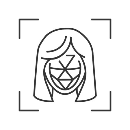 Identification polygonal grid face black line icon. ID and verifying person concept. Biometric security element. Deep face technology. Sign for web page, mobile app. Editable stroke Ilustración de vector