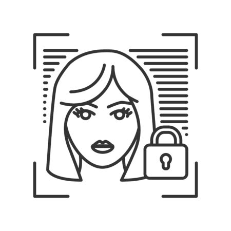 Personal account private protection or locked black line icon. Blocked user account, private, safe or secure data, access denied. Biometric security element. Sign for web page, mobile app, banner