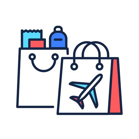 Duty free shopping color line icon. Retail outlets. Goods are exempt from the payment of certain local. Pictogram for web page, mobile app, promo. UI UX GUI design element.