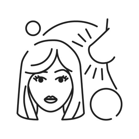 Early pregnancy symptoms: sensitive breasts and darkening nipples black line icon. Pregnant blond woman concept. Motherhood and healthcare. Sign for web page, mobile app, banner. Editable stroke.  イラスト・ベクター素材