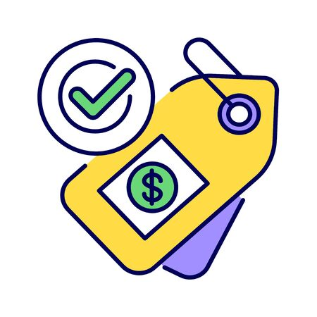 Fair price or trade color line icon. Minimum price paid for certain products imported from developing countries. Pictogram for web page, mobile app, promo. UI UX GUI design element.