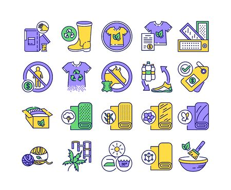 Eco textile color line icons set. Clothing and other accessories that are designed to use organic. Pictogram for web page, mobile app, promo. UI UX GUI design element. Stock Illustratie