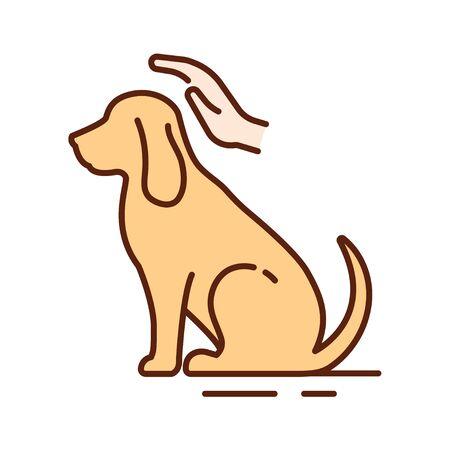 Dog care color line icon. Improving the life of dogs. Actions aimed at their care. Pictogram for web page, mobile app, promo. UI UX GUI design element.