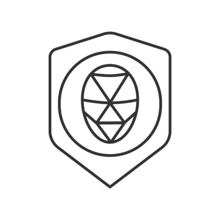 Identification polygonal grid face black line icon. Protection and guard person system concept. Biometric security element. Deep face technology. Sign for web page, mobile app. Editable stroke